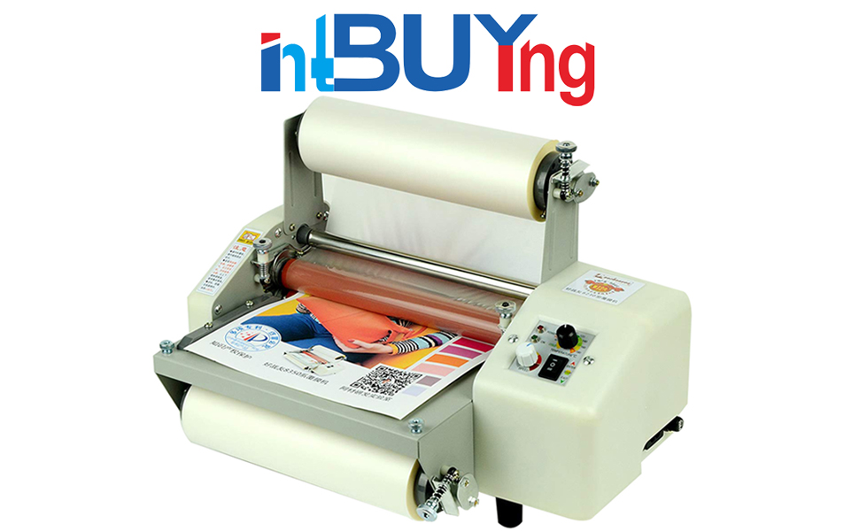 INTBUYING A3 Double Sides Hot Cold Laminating Thermal Laminator at Roller Heating Function Machine Stepless Speed Regulation with BOPP Glossy Laminating Film Gift