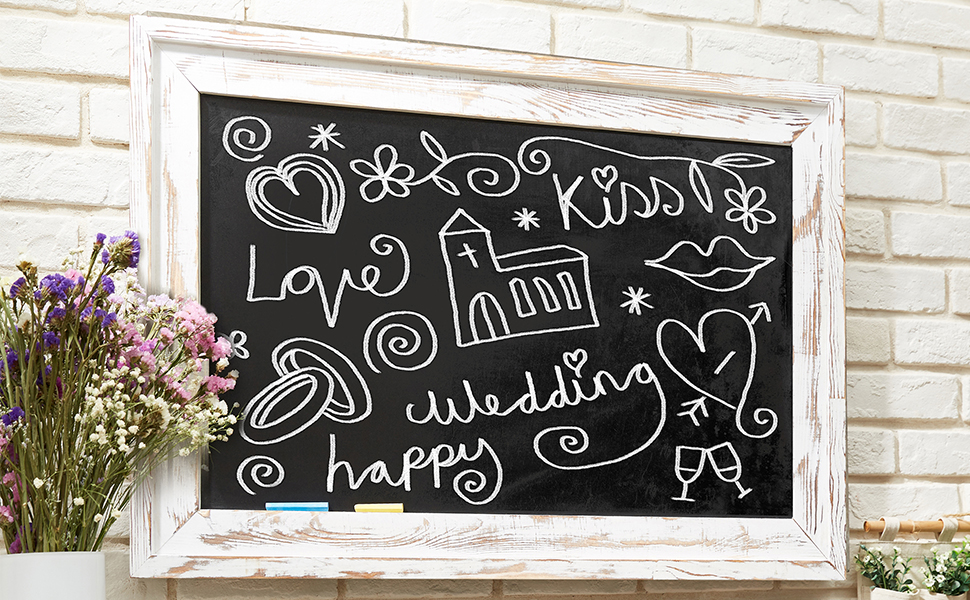 Wall Modern Decor Shabby Chic Menu Large Rustic Farmhouse chalkboard 36x24 White Framed Chalk Board Distressed Wedding Christmas