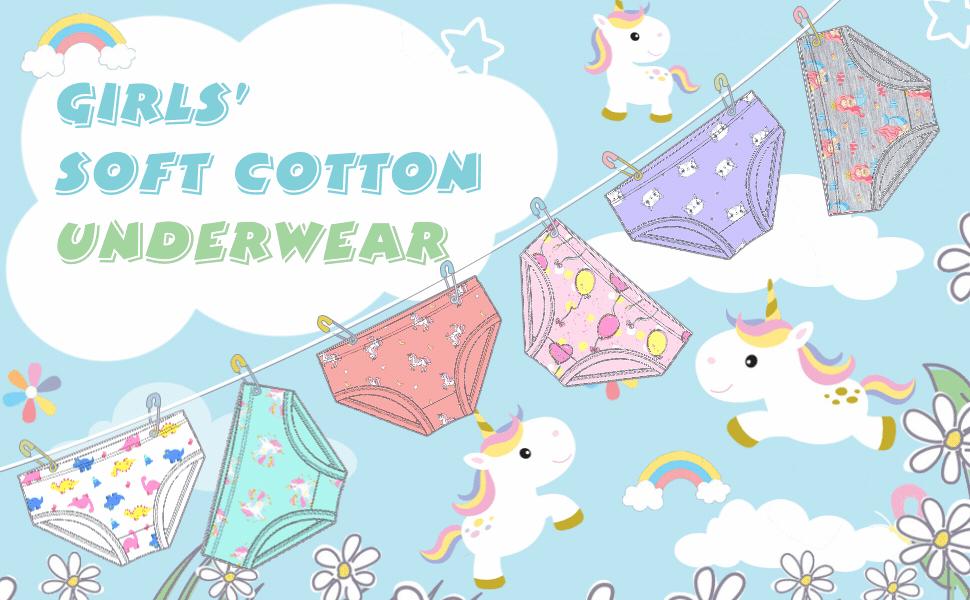 Blooven Girls' Cotton Briefs 6-Pack