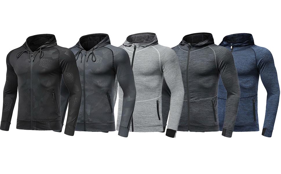 Mens Hoodies Zip Up Running Jacket Hooded Breathable Tracksuit Top Lightweight Sweatshirt