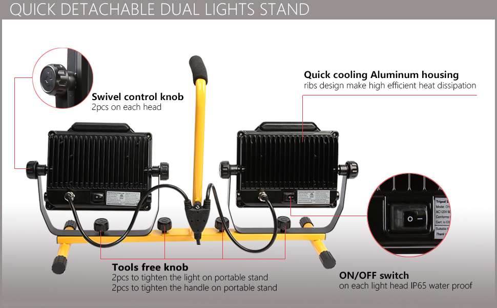 DAYATECH 180W 20000 Lumen Dual-Head LED Work Light4