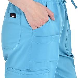 Close-up of pockets on MediChic Marilyn Monroe MM1101 women's scrub pant