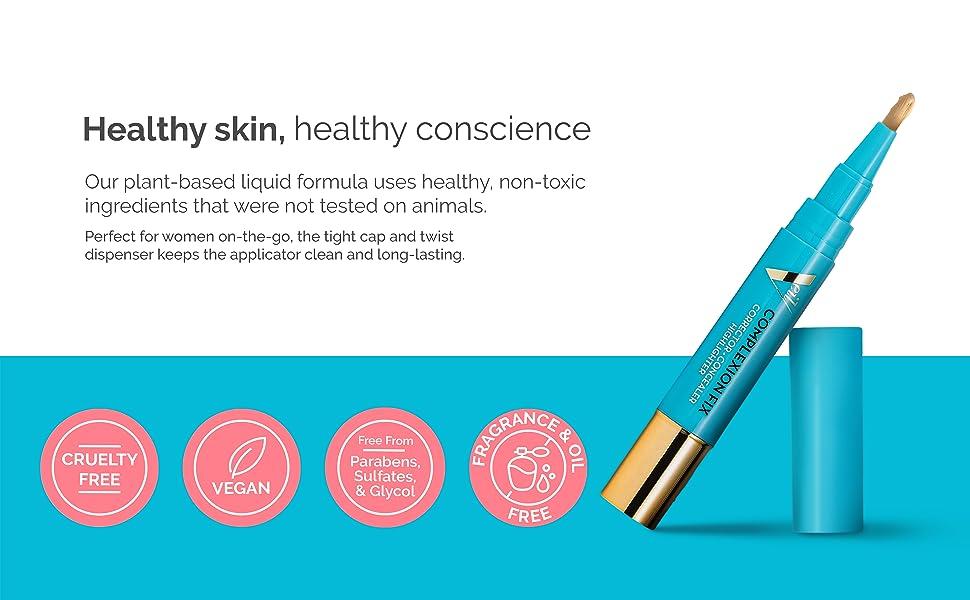 Healthy skin paraben cruelty vegan sulfates oil fragrance free propylene glycol makeup concealer pen