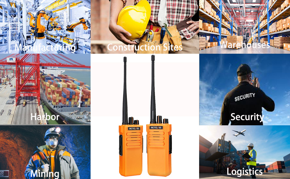 RT29 walkie talkies long range can be uesd in rough terrain, construction site, port, warehouse