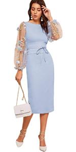 Women Mesh Sleeve Bodycon Dress