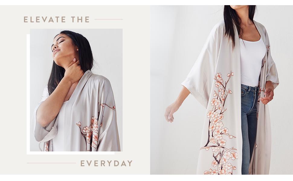 KIM+ONO Women's Handpainted Silk Kimono Robe - Elevate the Everyday - Cherry Blossom Dream