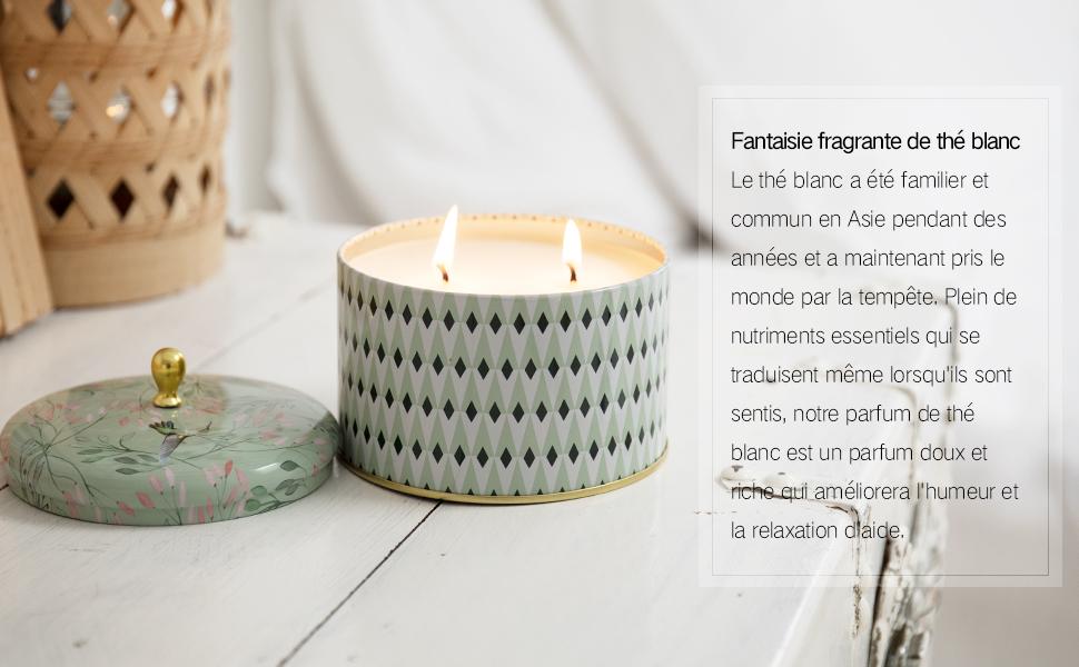 Bougies Parfum/ées Th/é Blanc Lot de 2 Bougies Grosse Cadeau pour la F/ête Cire Naturelle 2 M/èches 400gX2