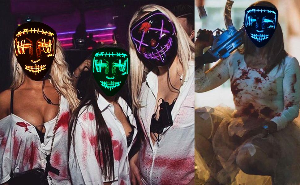 LED PURGE MASK Halloween light up scary mask