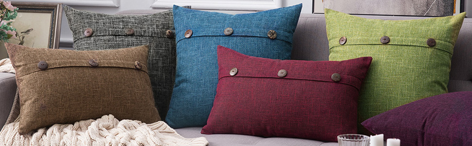 pillow covers cases shams botton pattern 16x16 inch 16 x inches durable farm farmer style farmhouse