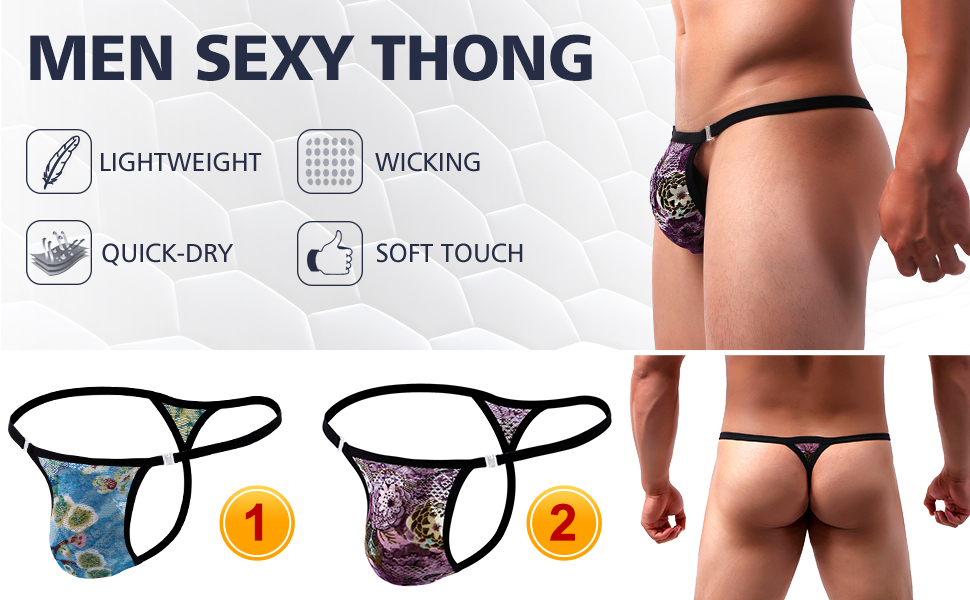 mens lace thong sexy g string underwear undie bulge pouch panties underpants floral pattern purple