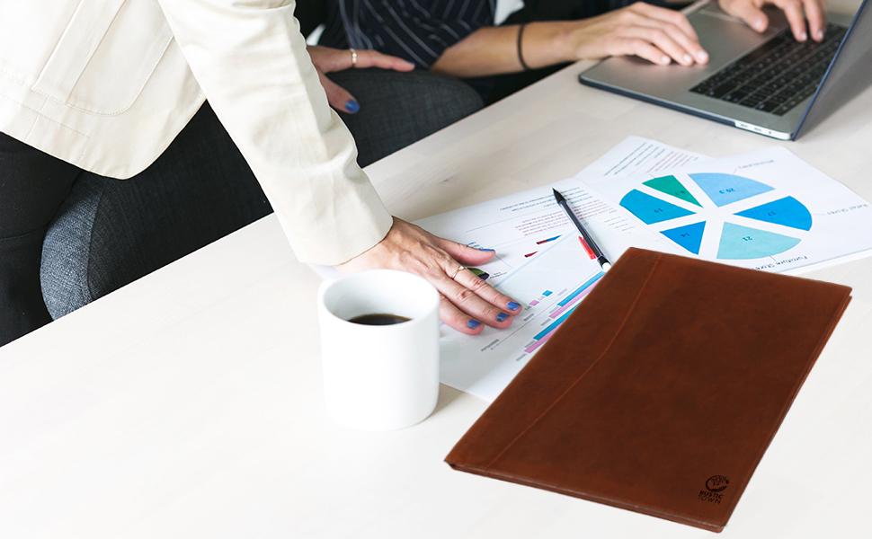 Leather Business Portfolio Folder Personal Organizer Luxury Padfolio Folder