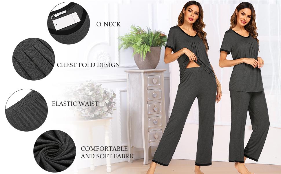 Sleepwear Womens Short Sleeve Pajama Set Loose and Comfortable Breathable Home Sleepwear