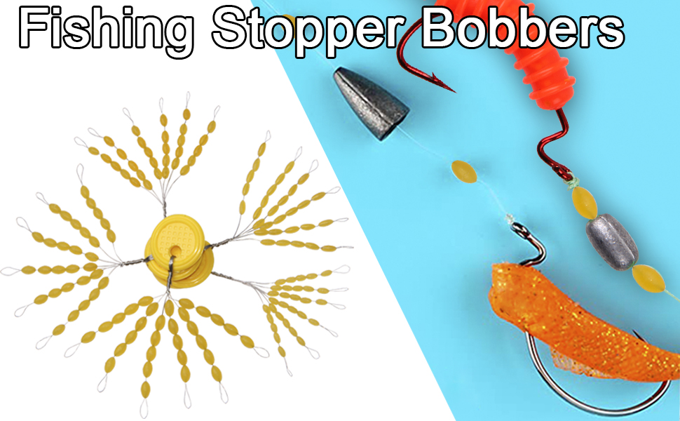 Size SS,S,M,L,LL 360pcs Rubber Fishing Bobber Stopper 12 Set 30-in-1 Float Stops Colorful Oval Fishing Bobber Space Beans for Rigging Float Positioning