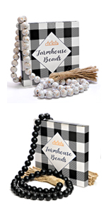 wood beaded garland boho garland decorative beads , farmhouse beads with tassel, tier tray decor