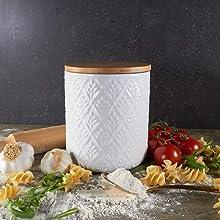 ciroa white ceramic large kitchen storage canister