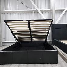 Bed double black storage