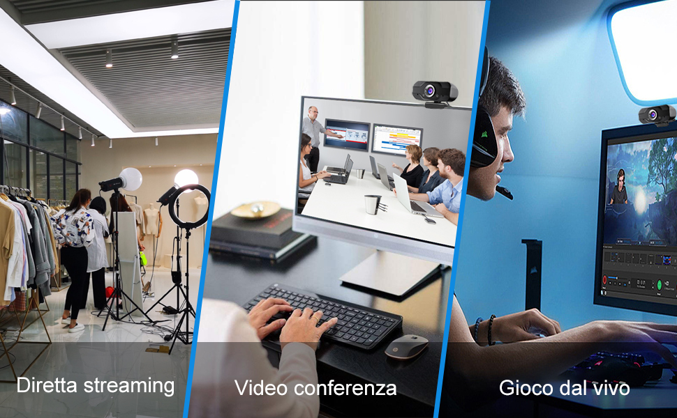 Webcam con microfono Full HD 1080P Webcam 90 gradi widescreen USB PC Webcam Desktop e laptop