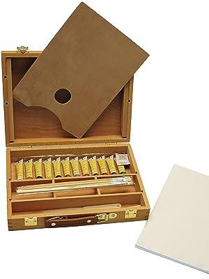Artme Caja-Caballete de Madera Premium Set de 23 Piezas – Caballete de Mesa 32x24cm/ 3 Paneles de lienz / 12 Pinturas de acrílico/ 4 Pinceles/lápiz/Cuchillo de Paleta de plástico/Paleta: Amazon.es: Hogar