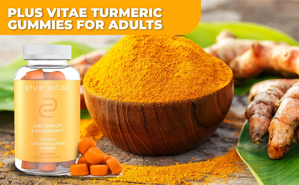 plus vitae curcumin turmeric gummies with ginger black pepper antiinflammatory joint support athlete