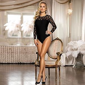 comeondear Donna Body Sexy Manica Lunga Nero in Pizzo Lingerie Bodysuit Leotard Rompers