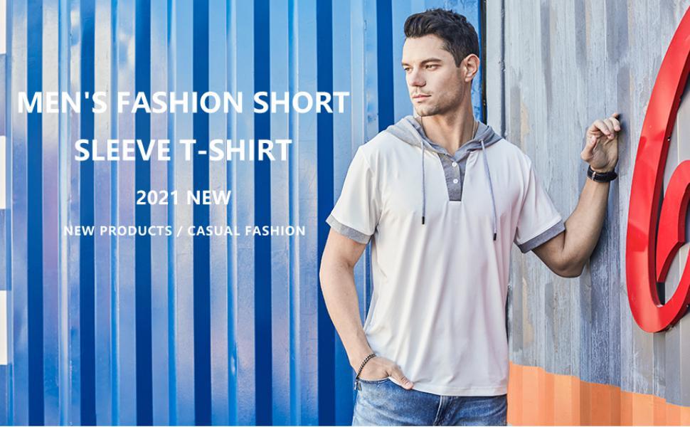 Men's Casual Basic Lightweight Active Short Sleeve Hoodie Shirts