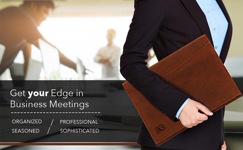 genuine leather padfolios portfolio interview resume document organizer holder