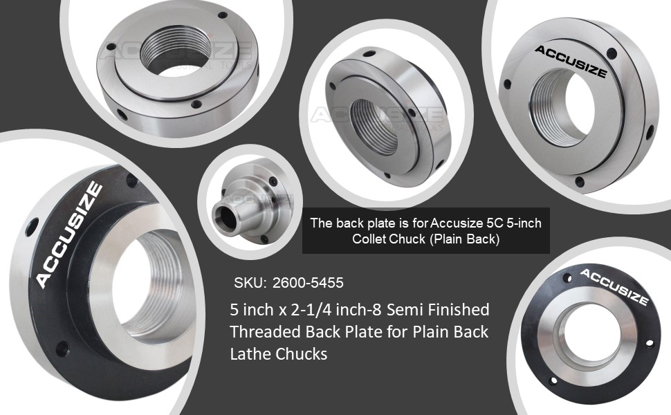 Accusize Industrial Tools 5 By 2 1 2 To 8 Semi Finished Threaded Back Plate For Plain Back Lathe Chucks 2600 5455