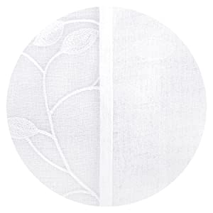 Doconovo Lot de 2 Panneau Tulle Brod/é Geometrique Rideaux Voilages Motif D/écoration Chambre Fille /à Oeillets 140x245 cm Beige
