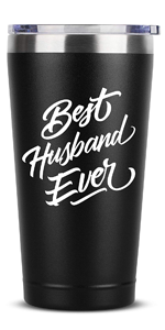 Best Husband Ever - 16 oz Black Insulated Stainless Steel Tumbler w/Lid Mug Cup Birthday Valentines