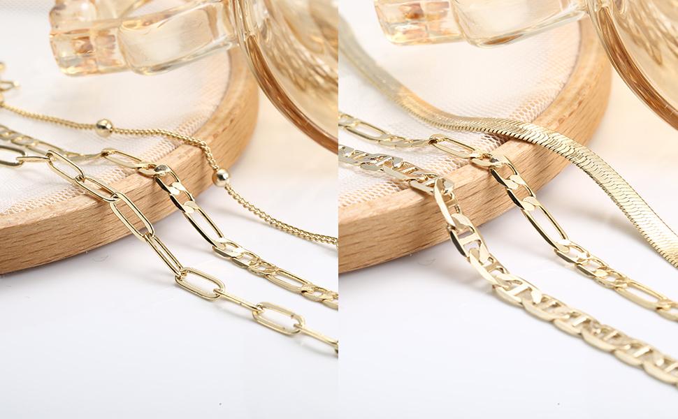 gold flat herringbone chain bracelets