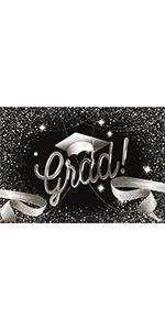 Graduation Black and Silver Backdrop