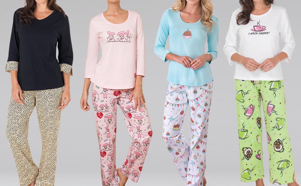 Lineup of women's patterned pajamas