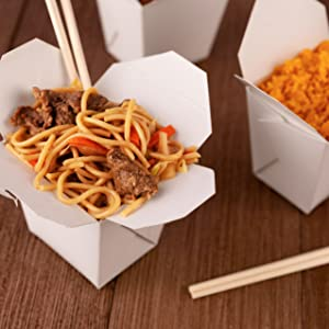 Paper Take Out Food Containers 16 Oz Microwaveable White Chinese Takeout Boxes (50 Pack)