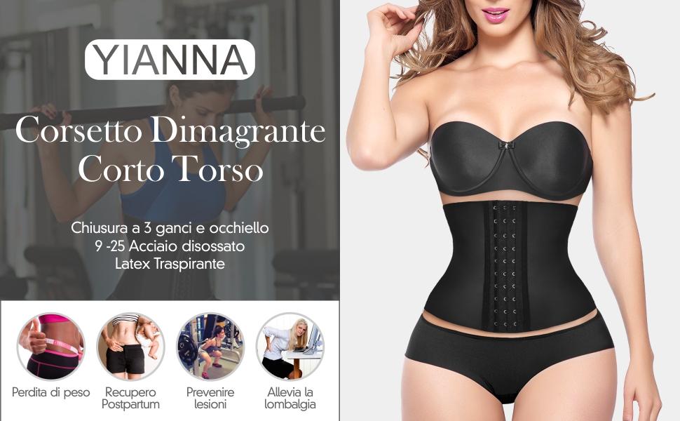 YIANNA Donna Corsetto Dimagrante Latex Waist Trainer Corpetto Bustino Body Shaper Modellante