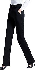 Women's Stretch Wrinkle Free Slim Skinny Trouser Twill Dress Pants with Pockets
