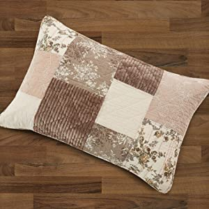 dusty pink rose brown quilt patchwork coverlet bedspread set summer time lightweight cozy floral