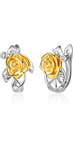 Rose Flower Hoop Earrings