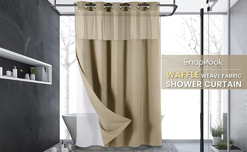 Easy to Clean 100% polyester shower curtain snap-in liner is water repellent iron