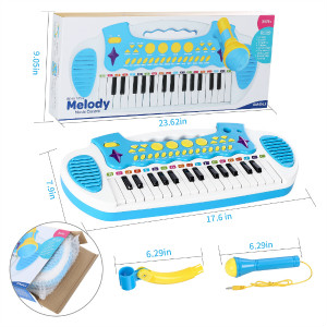 blue piano toy with 31 keys and microphone