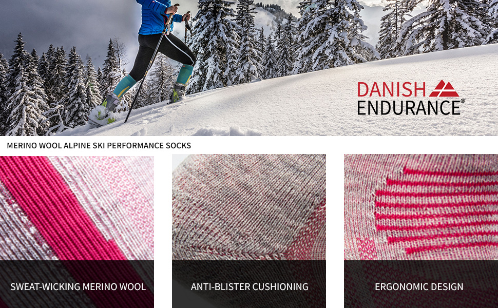 Multi Alpine Thermal Performance Ski Socks Merino Wool Winter Hiking Snowboarding Knee-High Men/'s Kids Women/'s