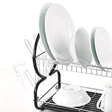 2 TIERED DISH DRAINER,DISH DRAINER 2 TIER, DISH DRAINER METAL, DISH DRAINER COMPARTMENTS, DRIP TRAY