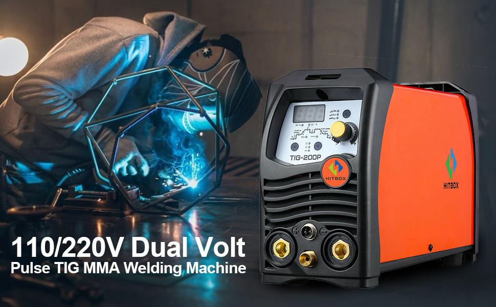 HITBOX TIG Welder Pulse 180A 110/220V Dual Volt Inverter IGBT Stick TIG Digital TIG200P Welder Welding Machine