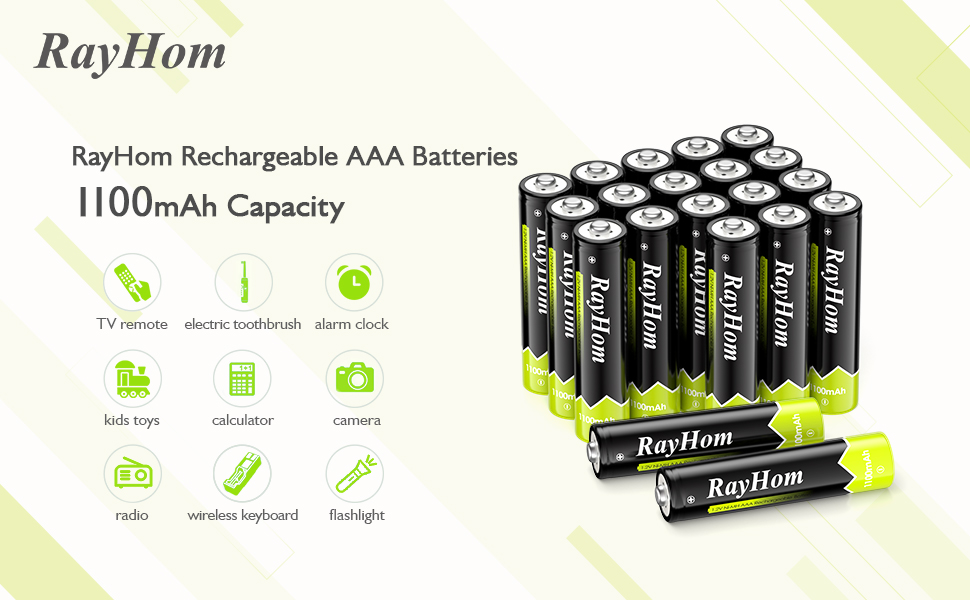 RayHom AAA Rechargeable Batteries 1100mAh Ni-MH Battery 20 Pack