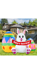 6 FT Inflatable Easter Bunny amp; Eggs Inflatable