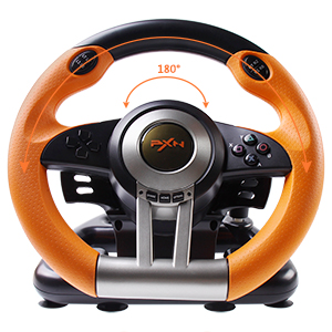 180 Degree Dual-Motor Vibration Driving Gaming Racing Wheel with Responsive Pedals for PC/PS3/PS4/XBOX ONE/Switch PXN-V3II (Orange) 50c22f7f 8594 4589 9804 8765483694d8