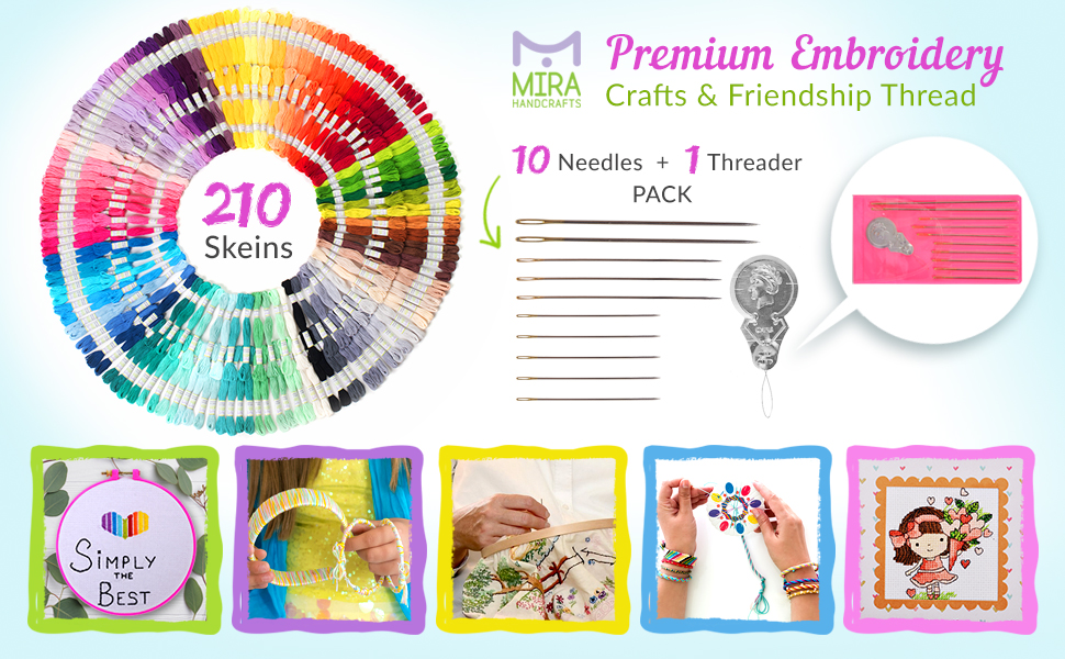 Friendship Bracelets Thread Organizer Storage Box with Cross Stitch Tools Ideal Gift for Girls Sewing Kit Great for Any String Art Embroidery 222 Pieces Floss Kit by Mira Handcrafts