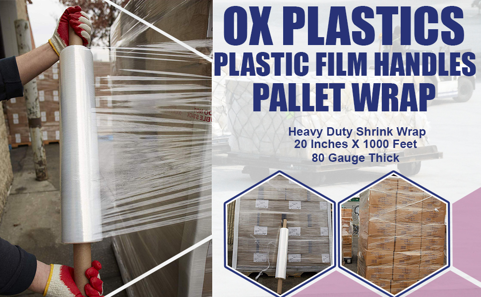 Thick 80 Gauge - Plastic Film Shrink Wrap, for Moving Furniture Pallet Box Wrapping