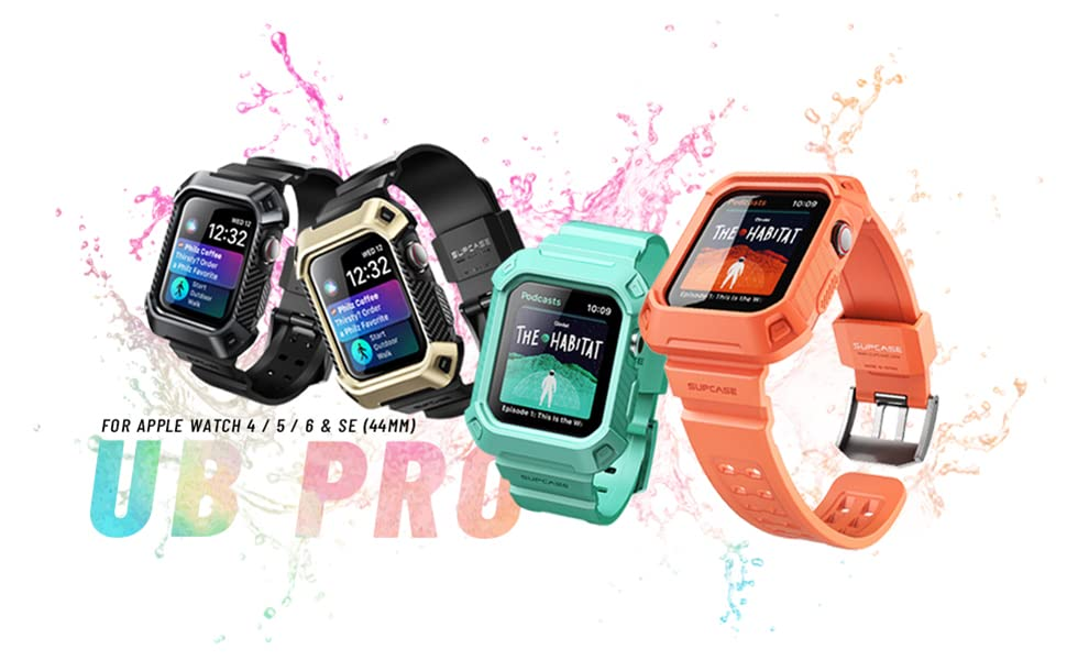 SUPCASE Protective Case with Strap Bands for Apple Watch Series 4 5 6 SE Unicorn Beetle Pro 44mm