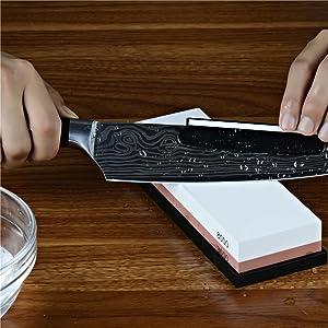 Whetstone Knife Sharpening Stone, 2-Sided 400/1000 Grit Knife Sharpener