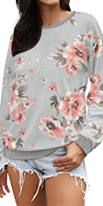 women's floral prints sweatshirt long sleeve lightweight pullover tops casual blouse